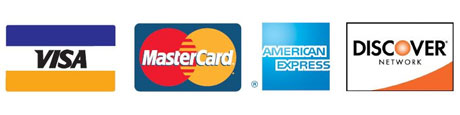 Accepted credit cards: Visa, MasterCard, American Express, and Discover